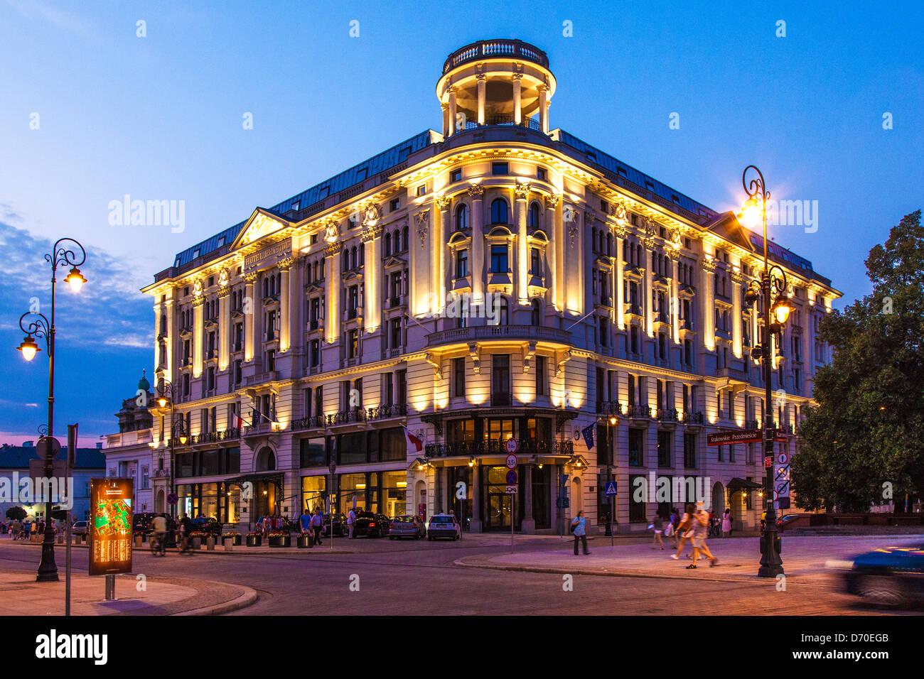 The 5 star Hotel Bristol in the Krakowskie Przedmiescie in Warsaw, Poland. - Stock Image