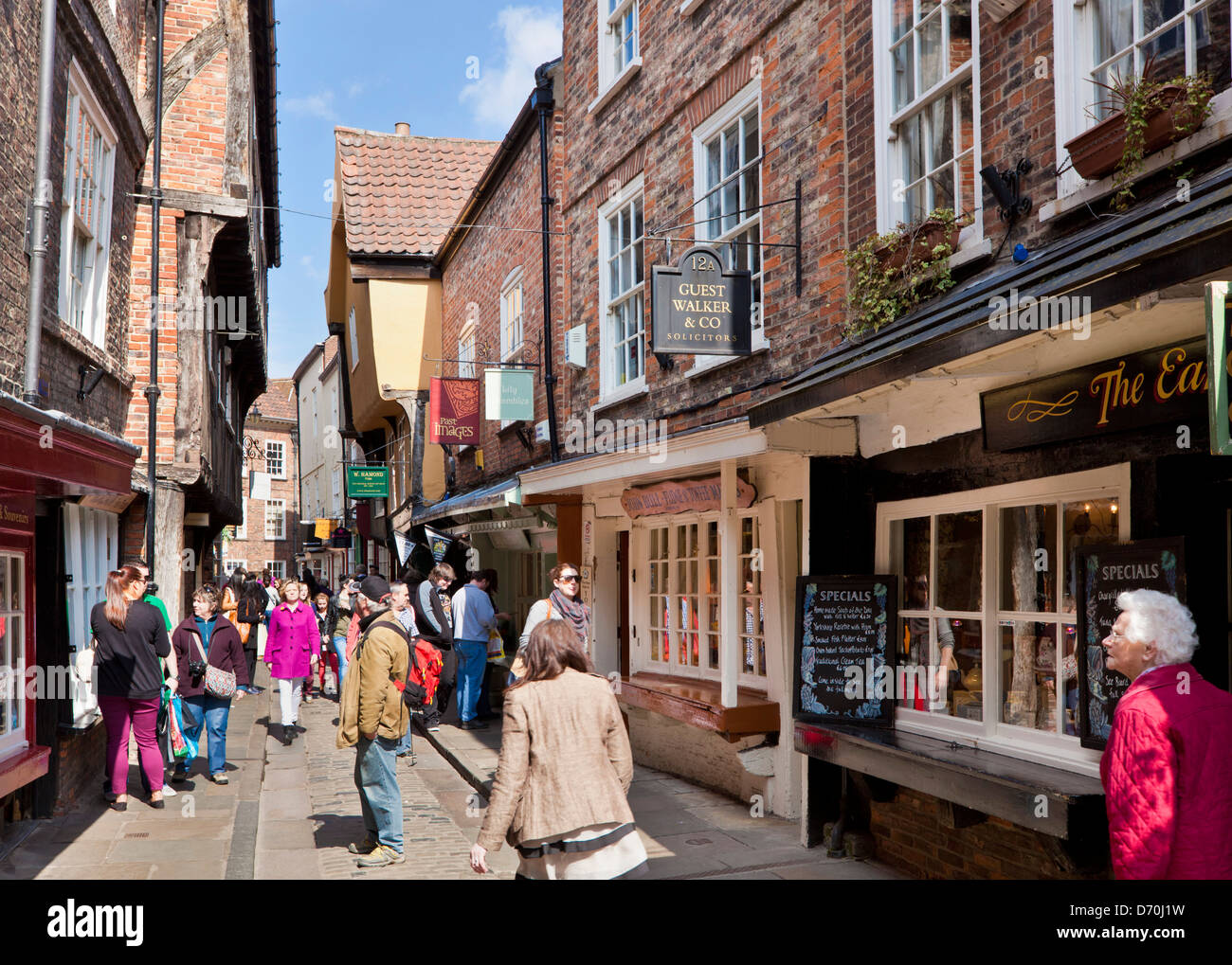 The Shambles, the narrow street of half-timbered old medieval buildings, York, North Yorkshire England, UK, GB, EU, Europe Stock Photo
