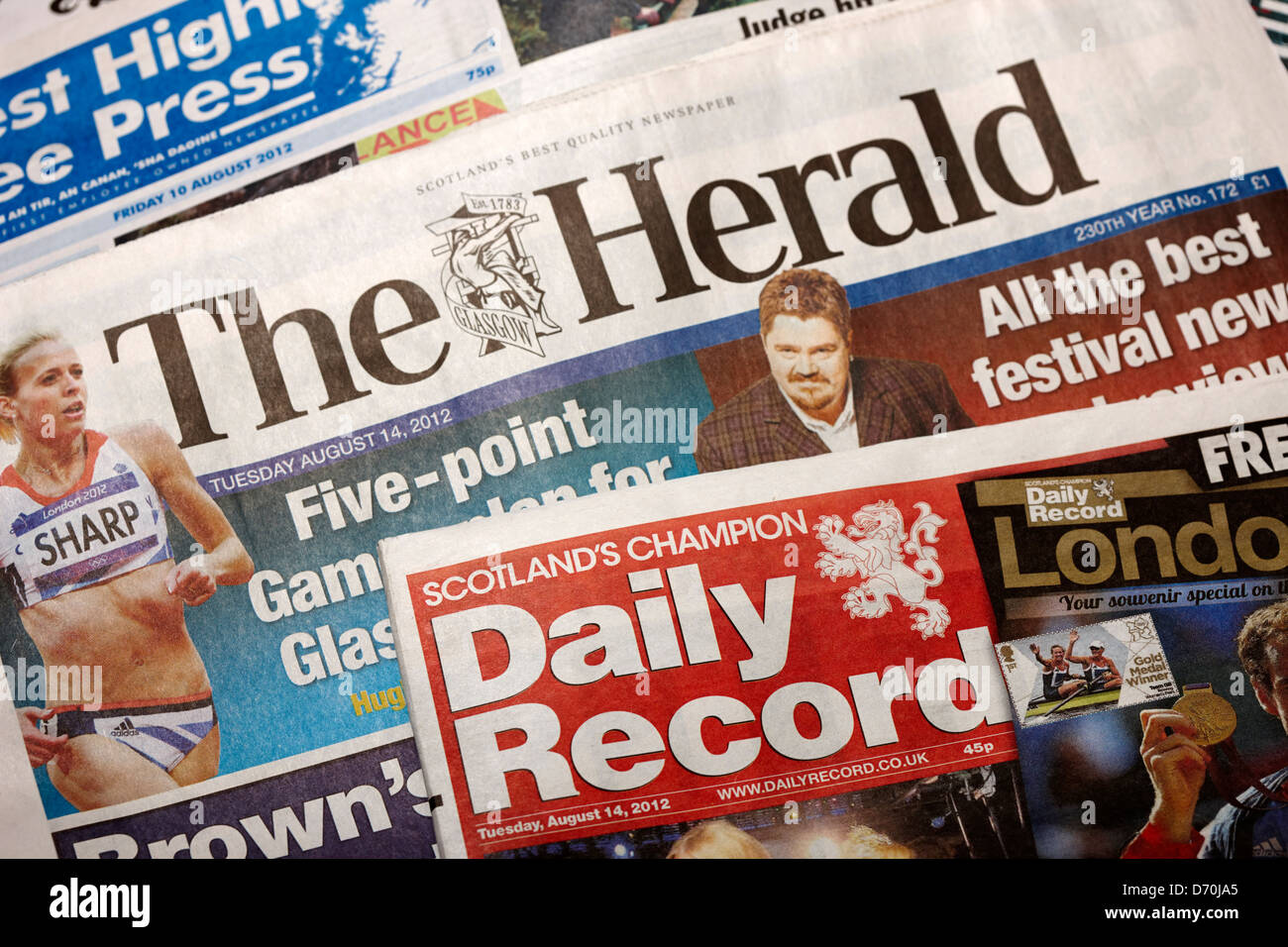 scottish daily newspapers the herald and daily record Stock Photo