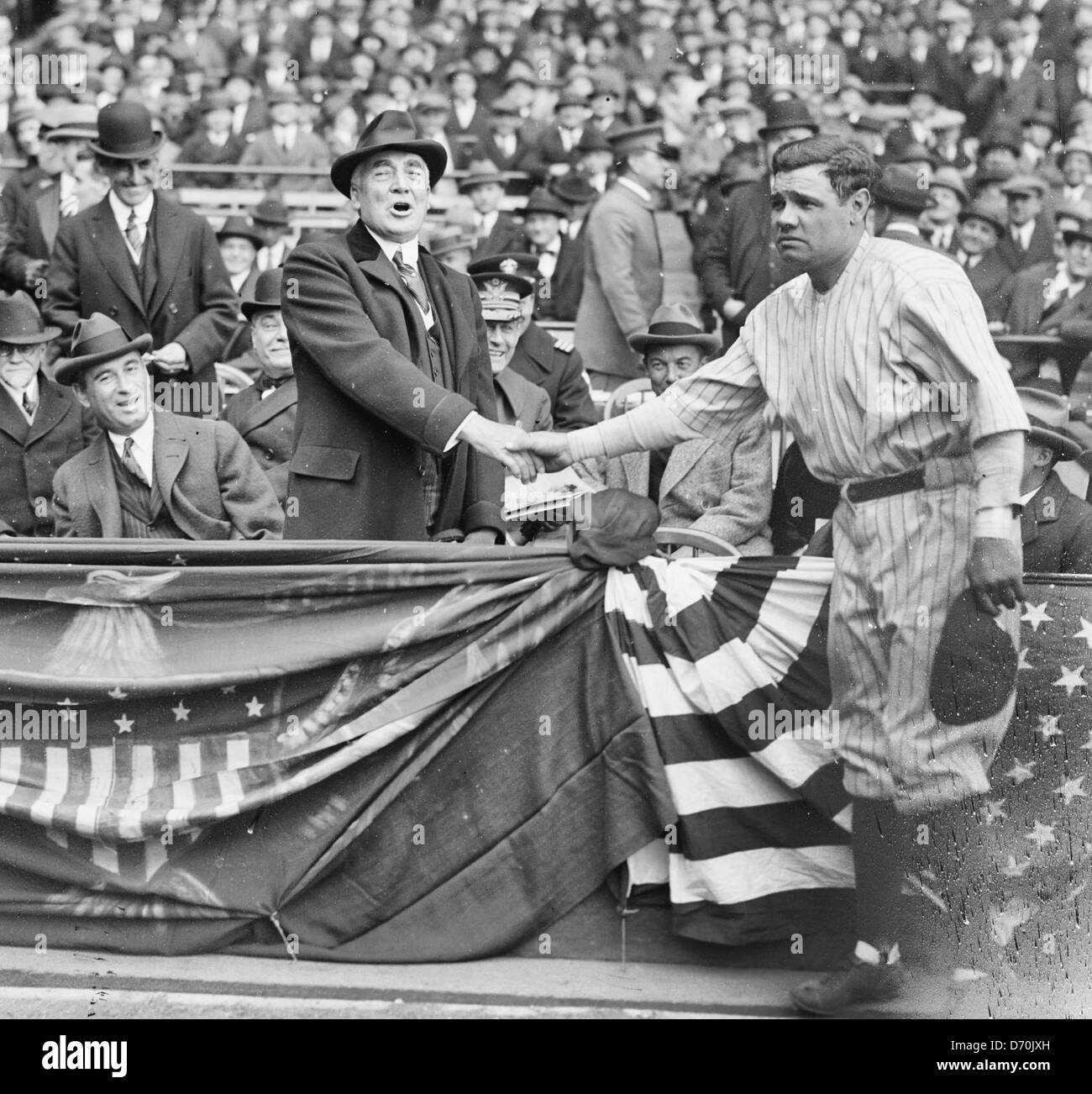 Babe Ruth Shaking Hands With USA President Warren Harding, at Yankee Stadium 4/24/23 - Stock Image