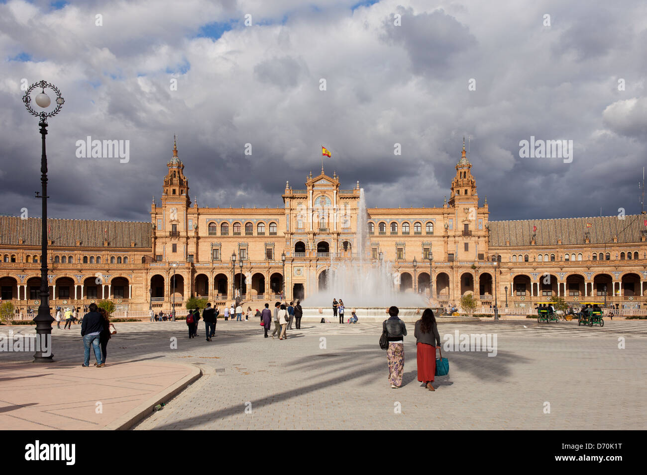 Plaza de Espana (Spain's Square) Renaissance Revival style pavilion and fountain in Seville, Andalusia, Spain. - Stock Image