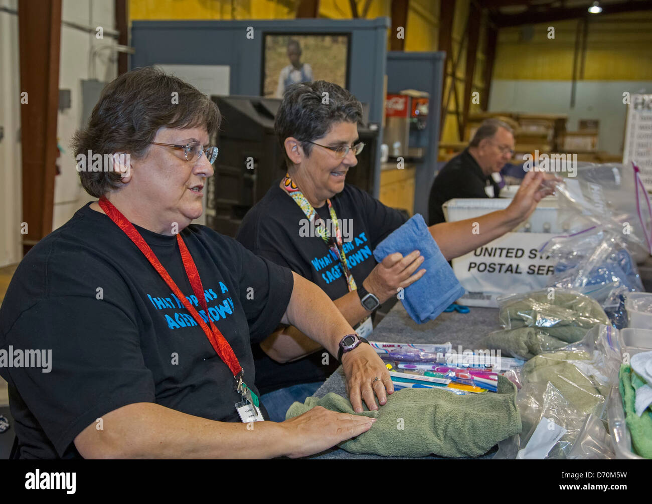 Church women prepare relief supplies at United Methodist disaster relief center Stock Photo