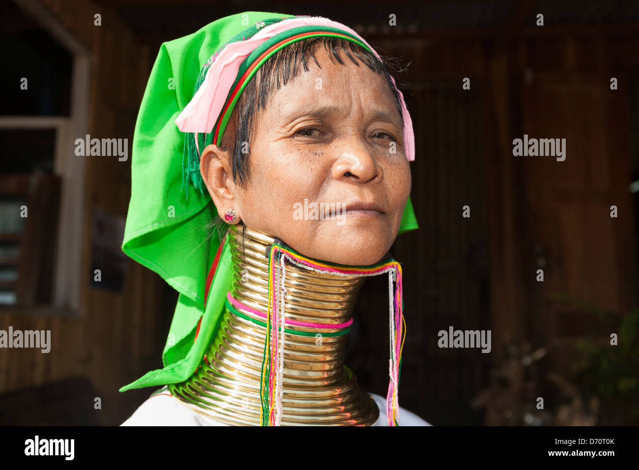 Woman with long neck from the Padaung tribe, Ywama village, Inle Lake, Shan State, Myanmar, (Burma) Stock Photo