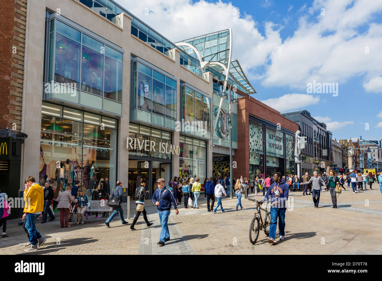 The Briggate entrance to the new (as of 2013) Trinity Leeds shopping centre, Briggate, Leeds, West Yorkshire, UK - Stock Image