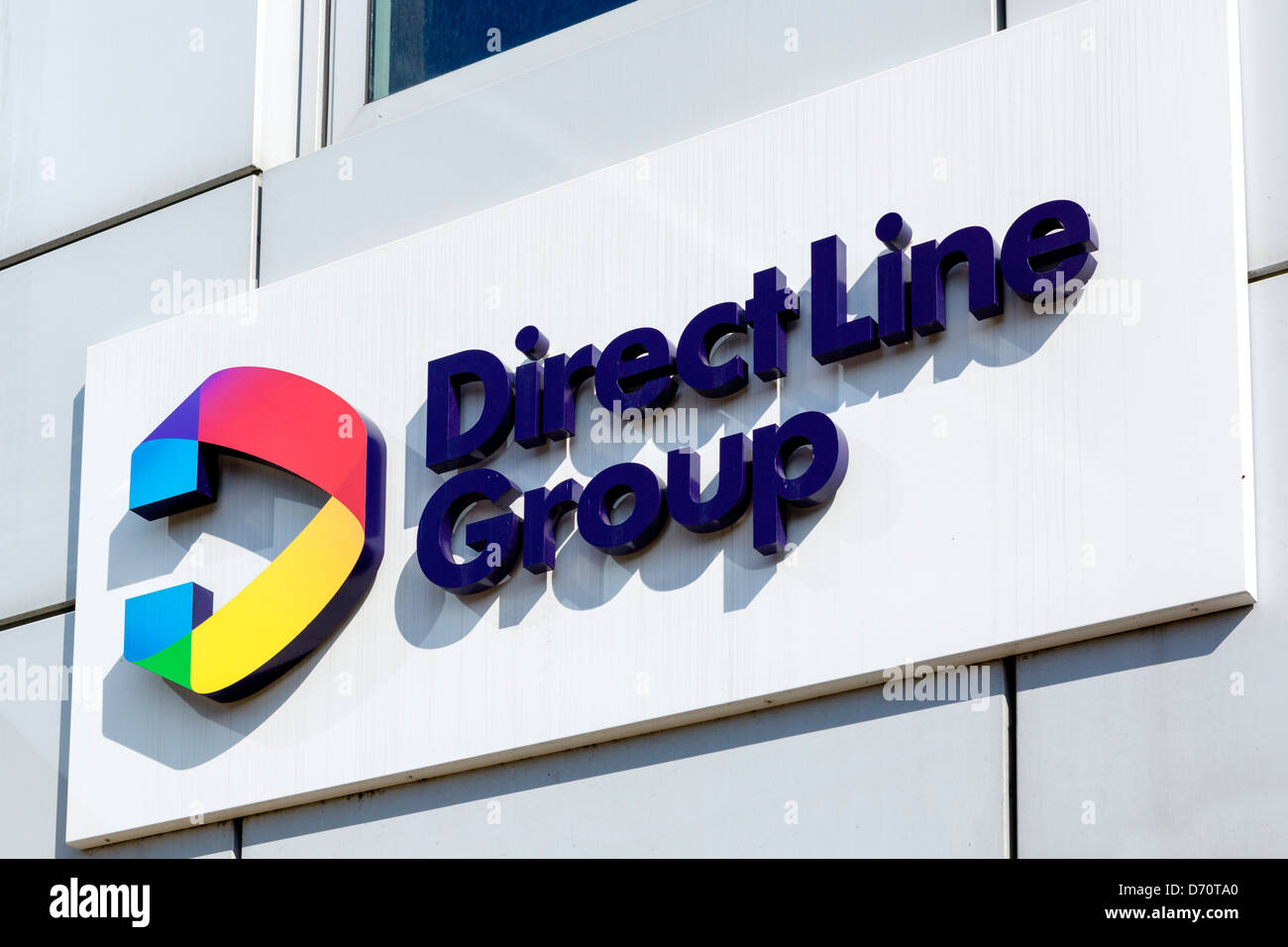 Sign outside the head office of Direct Line Insurance (Part of the Direct Line Group), Leeds, West Yorkshire, UK - Stock Image