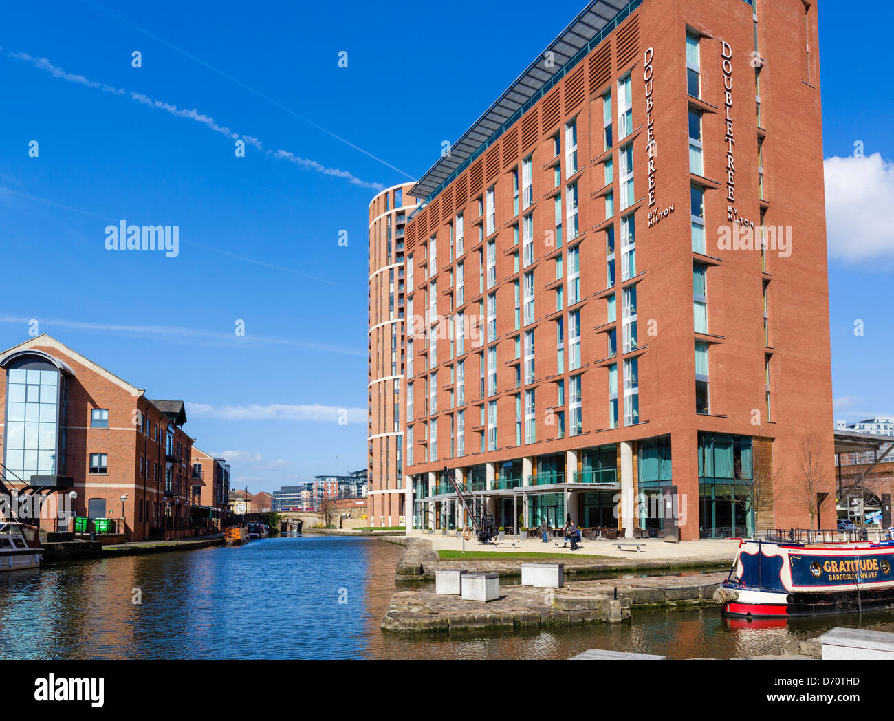 The DoubleTree Hotel by Hilton, Granary Wharf, Leeds, West Yorkshire, UK - Stock Image