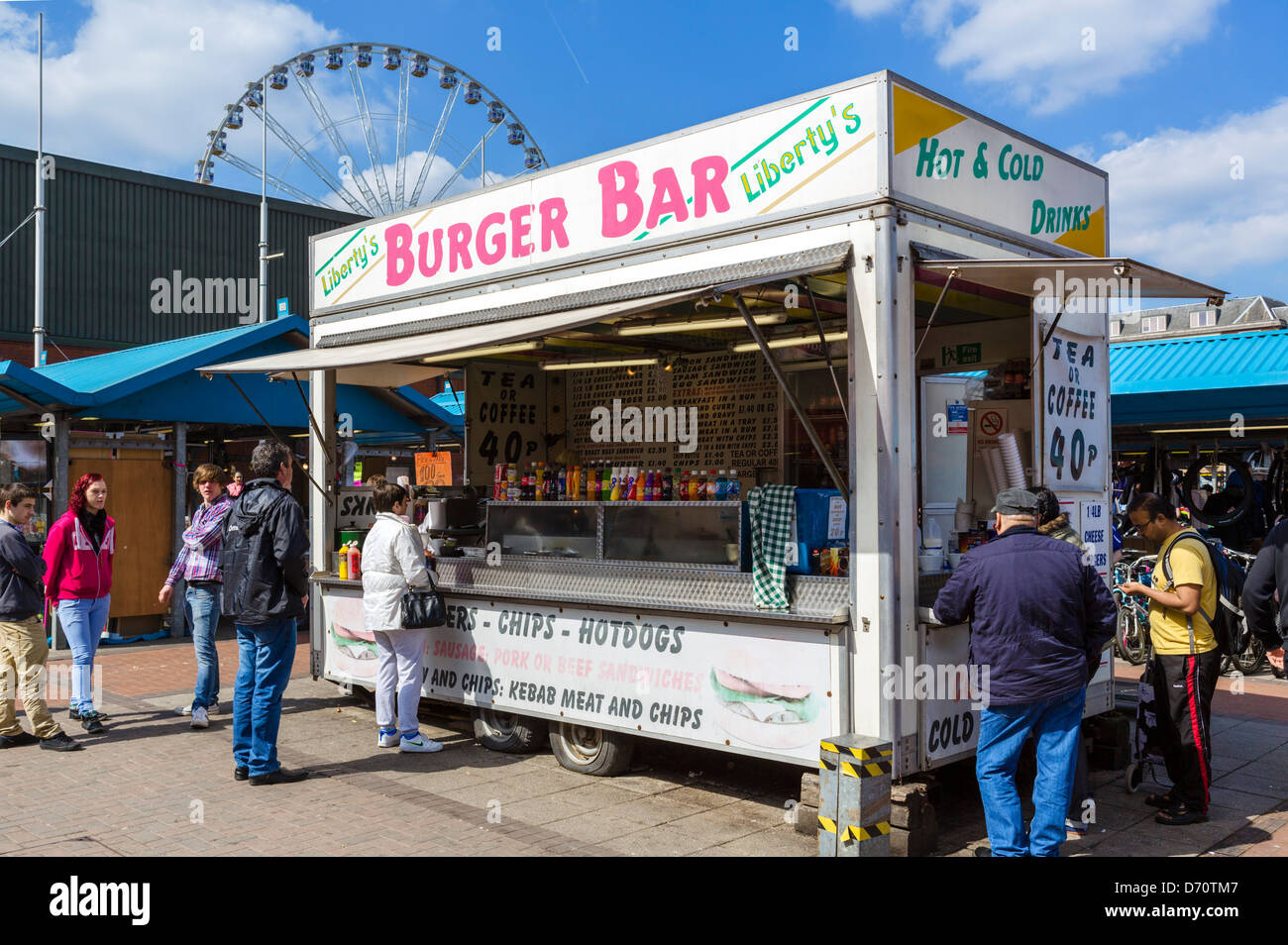 Burger van (food truck) in the Open Market at Kirkgate Market, Leeds, West Yorkshire, UK - Stock Image