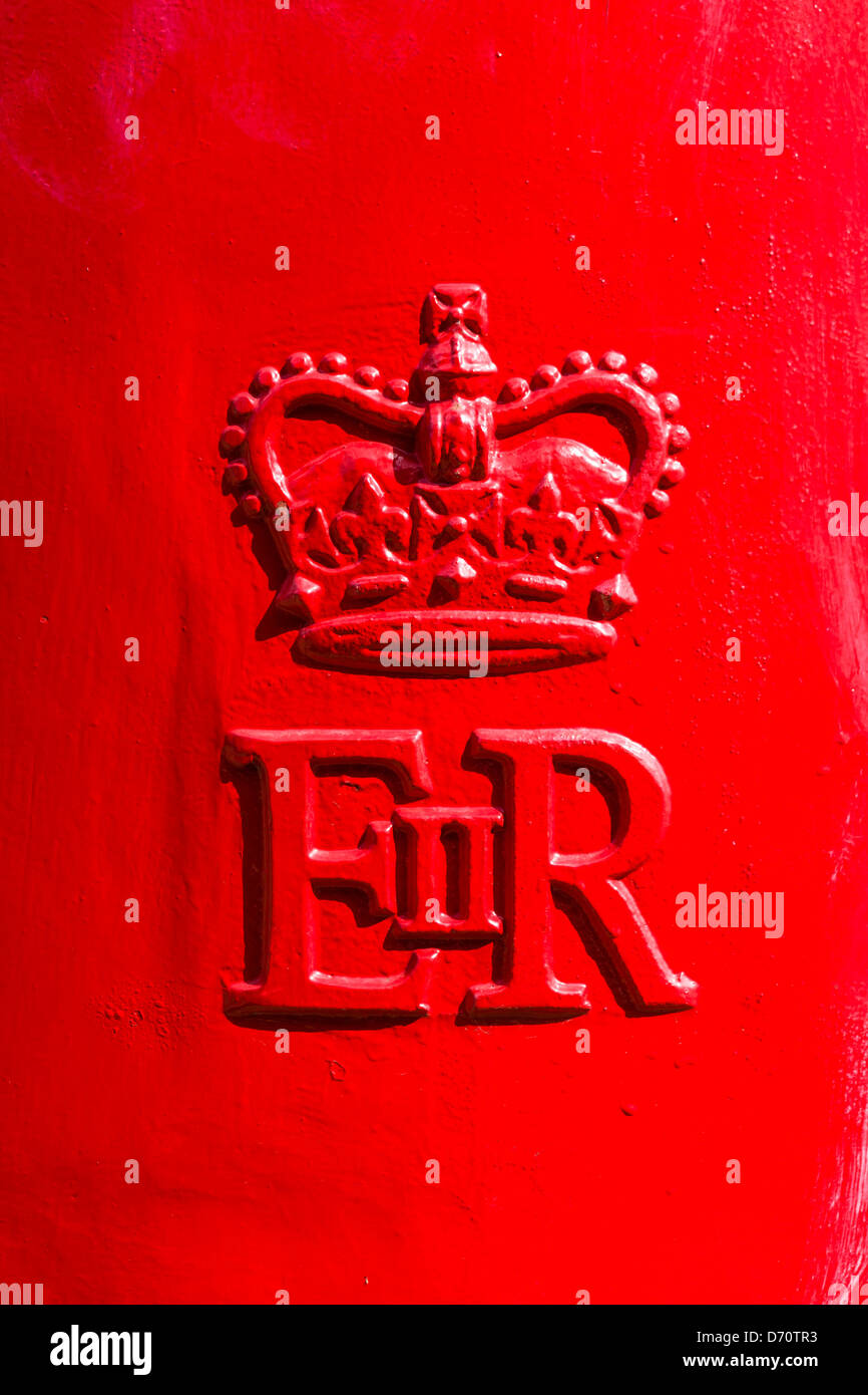 EIIR symbol on a postbox in a city centre, UK - Stock Image