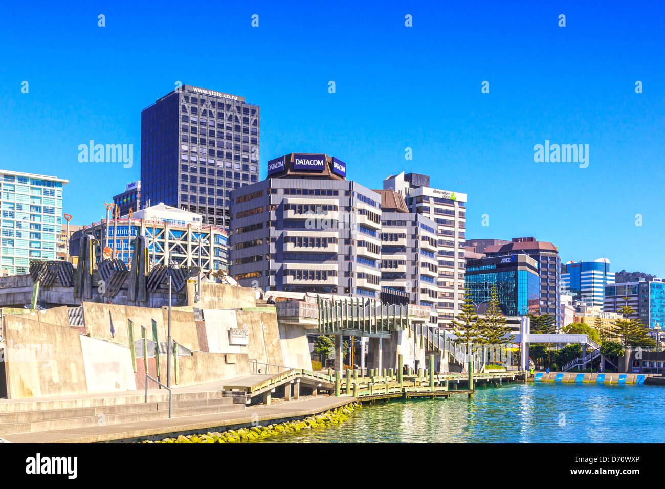 Wellington CBD and City To Sea bridge, New Zealand. - Stock Image