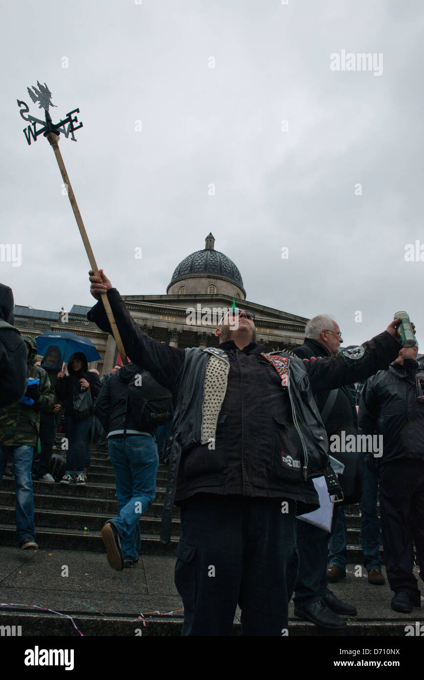 Protesters celebrate the death of Margaret Thatcher by throwing a part on the first Saturday after her death (13/04/13). - Stock Image