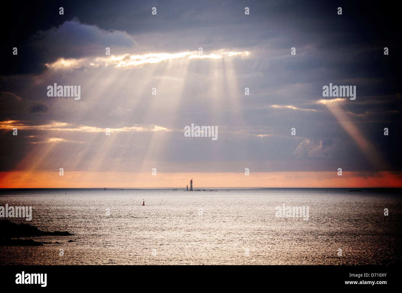 St-Malo Brittany France Seascape - seascape off the coast from St-Malo with rays, beams, or Godlight. - Stock Image