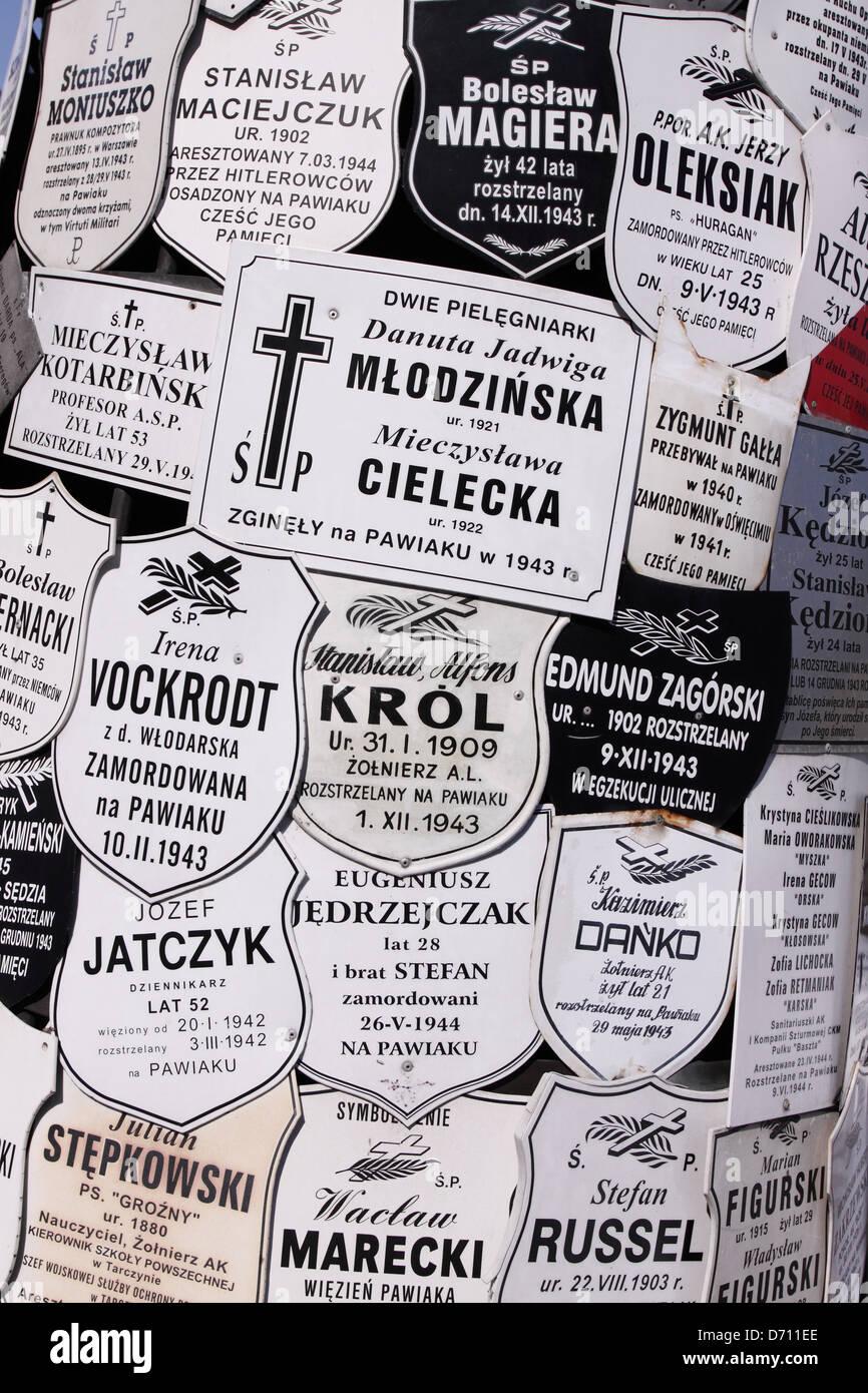 Pawiak prison Warsaw Poland memorial plaques to Polish victims of the Nazi German Gestapo torture centre at Pawiak Stock Photo