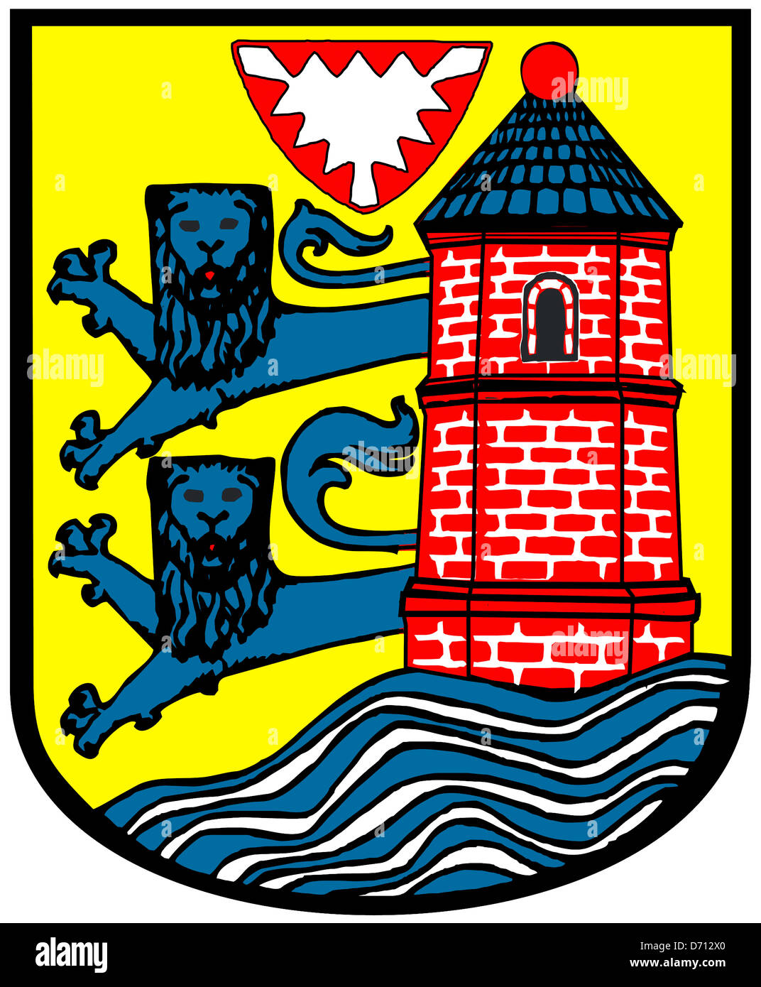 Coat Of Arms Of The German City Flensburg In Schleswig Holstein