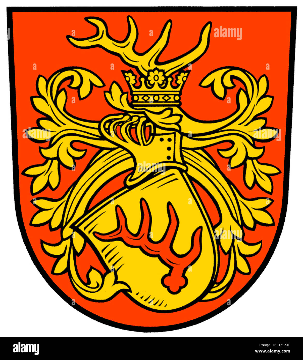 Coat of arms of the German city Forst in Brandenburg. - Stock Image