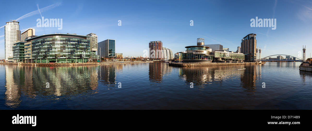 Panoramic view of Salford Quays Manchester, with BBC Manchester, Media City and Lowery theater all together. - Stock Image