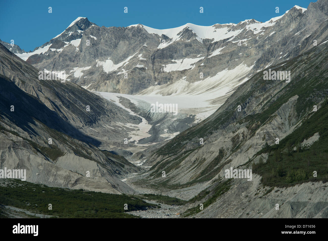 View Of Mountain Landscape With Terminal Moraine And Lateral Moraines In Glacier Bay National Park