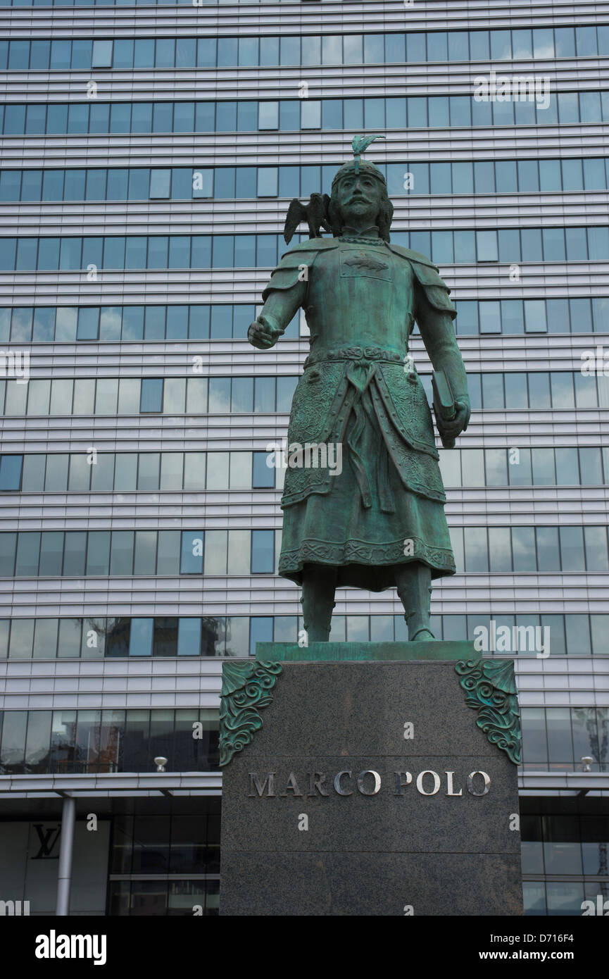 Statue Of Marco Polo In Front Of Central Tower In Downtown Stock ...