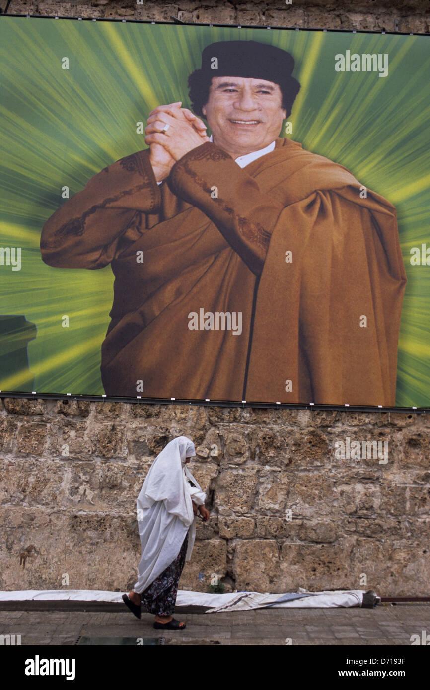 Libya, Tripoli, Downtown, Gaddafi Billboard - Stock Image