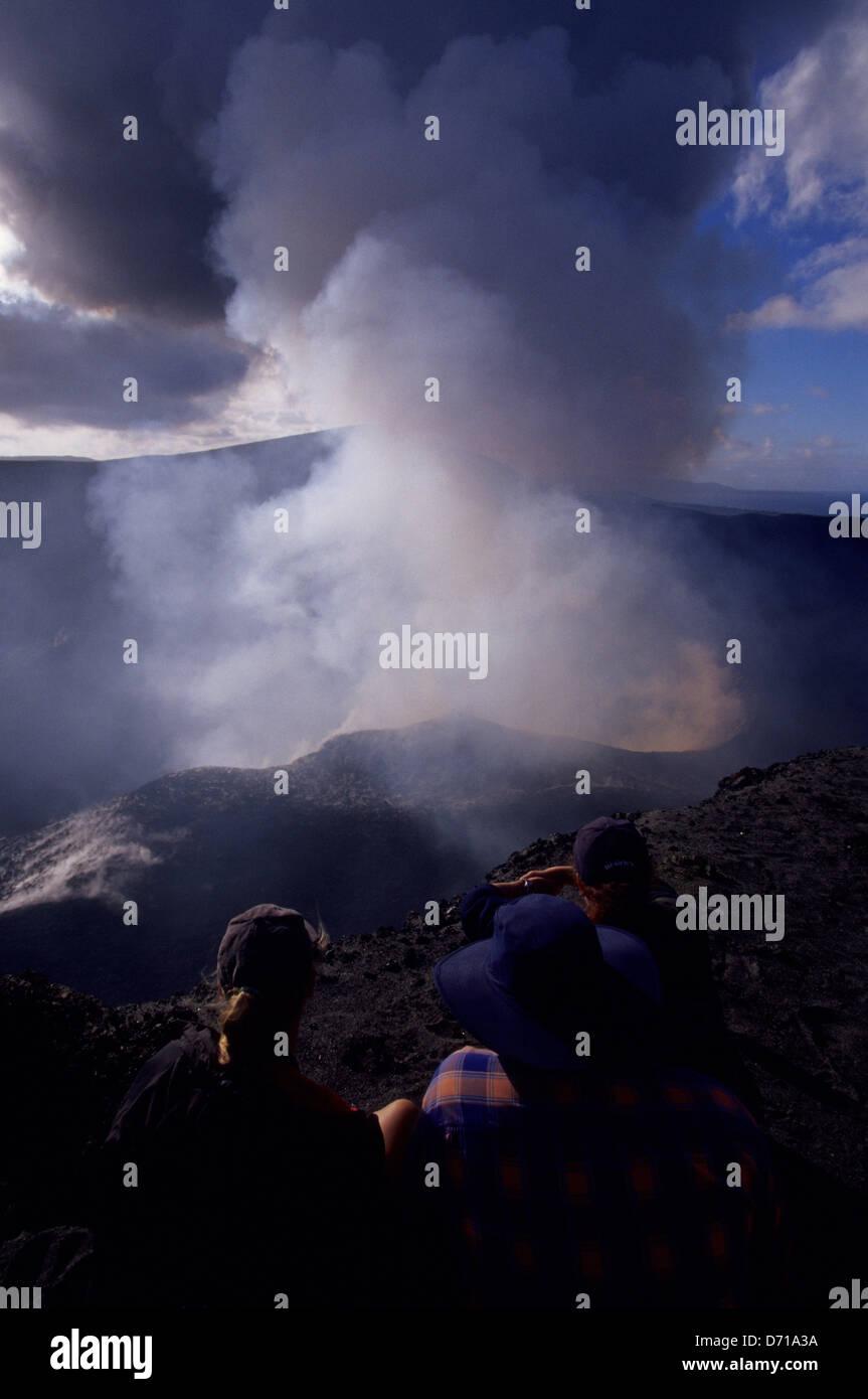 Vanuatu, Tanna Island, Mt. Yasur Volcano, Crater Rim, Tourists Stock Photo
