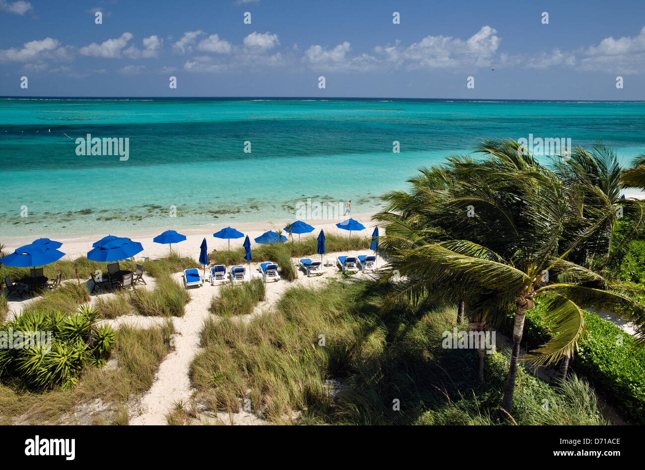 View of Beachfront on Grace Bay in Providenciales, Turks & Caicos - Stock Image
