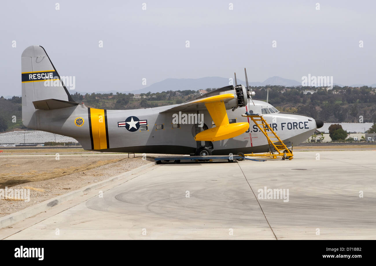Military transport plane in for service - Stock Image