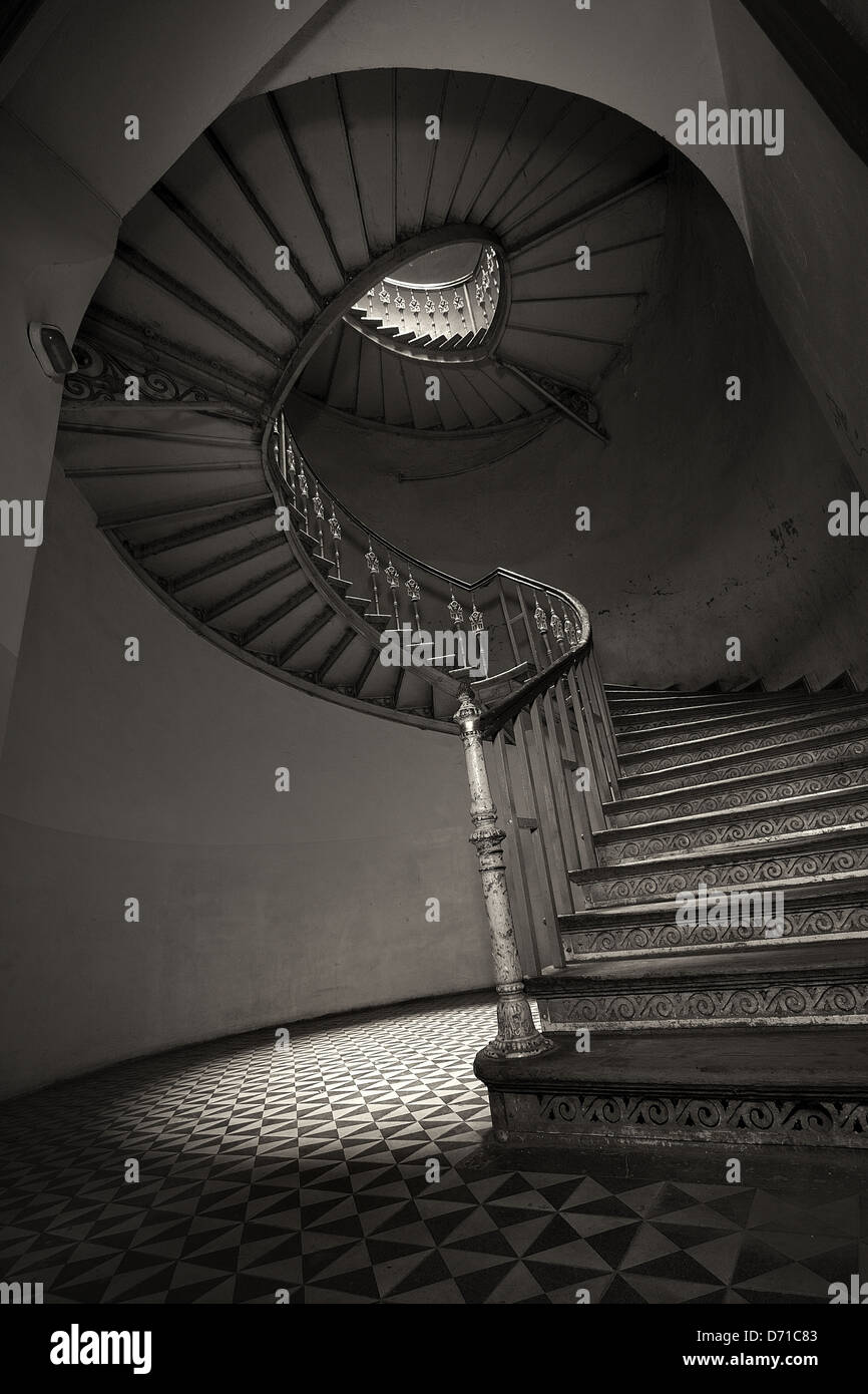 The classic spiral staircase Stock Photo