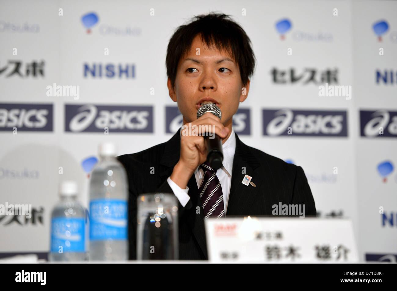 Yusuke Suzuki (JPN), APRIL 25, 2013 - Athletics : Japan Association of Athletics Federations' press conference - Stock Image