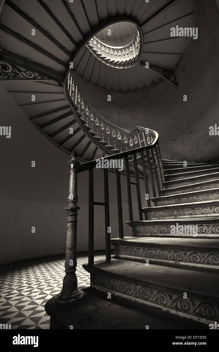 The mysterious spiral staircase - Stock Image