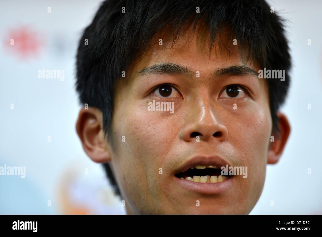 Yuki Kawauchi, APRIL 25, 2013 - Marathon : Yuki Kawauchi talks to media after the Japan Association of Athletics - Stock Image