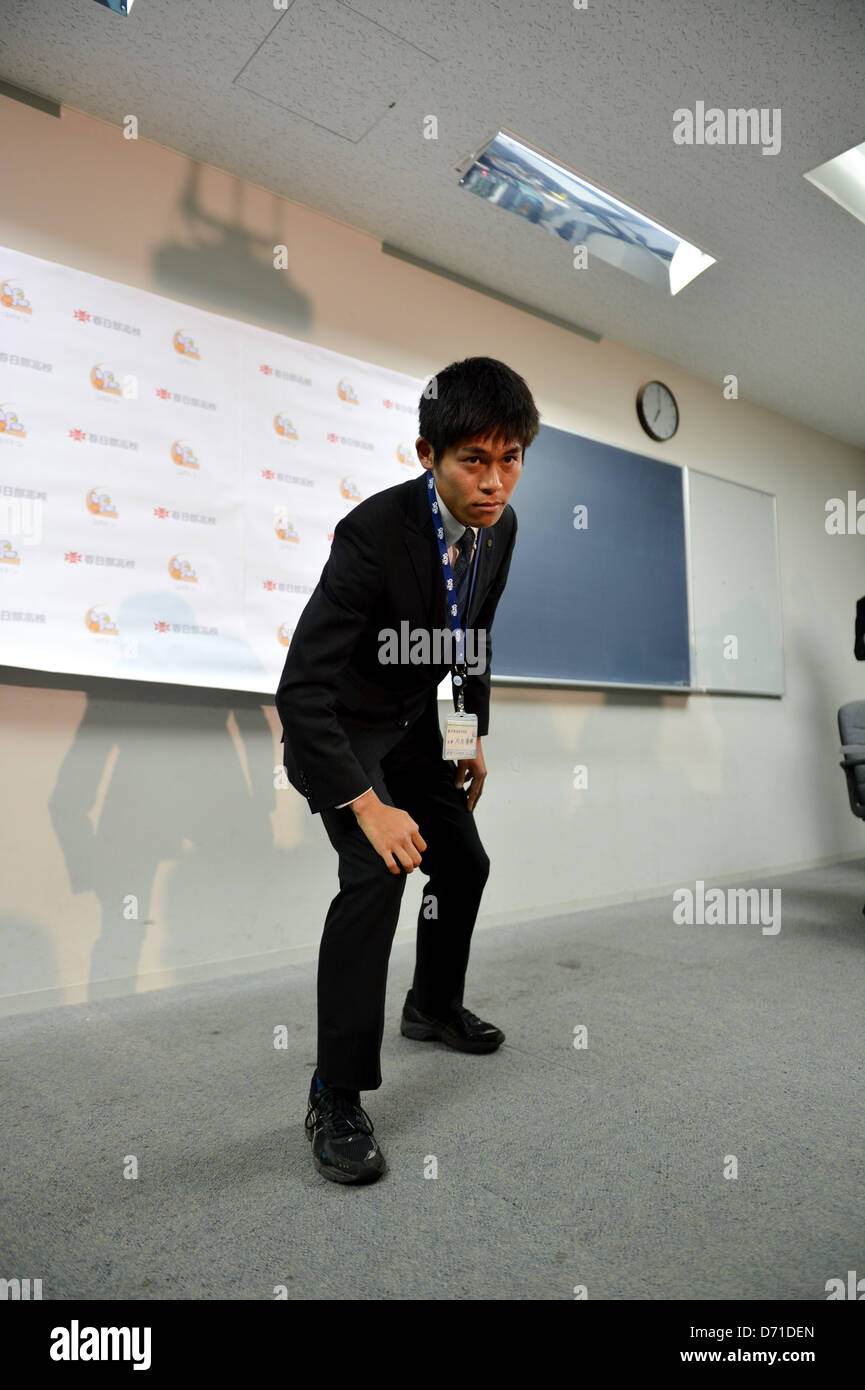 Yuki Kawauchi, APRIL 25, 2013 - Marathon : Yuki Kawauchi poses to media after the Japan Association of Athletics - Stock Image