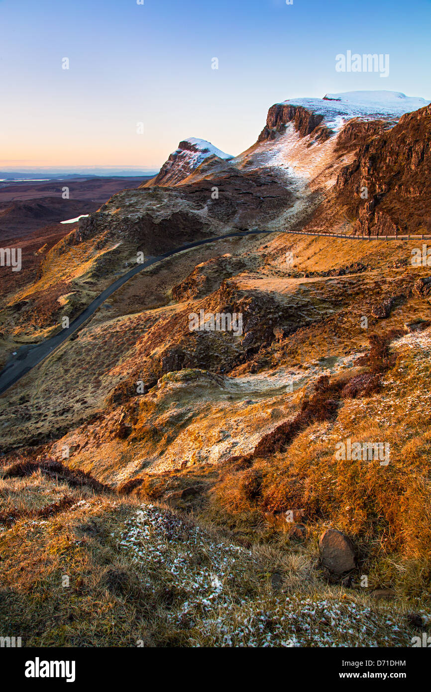 A view towards The Cleet, part of the Quiraing on the Isle of Skye's Trotternish Ridge on an April dawn. - Stock Image