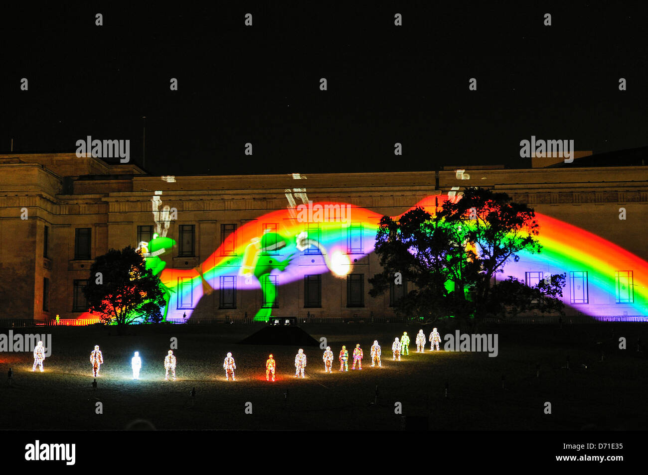 Frogs divers and a rainbow projected on museum walls in 'The Breath of the Volcano' show by Groupe F at - Stock Image