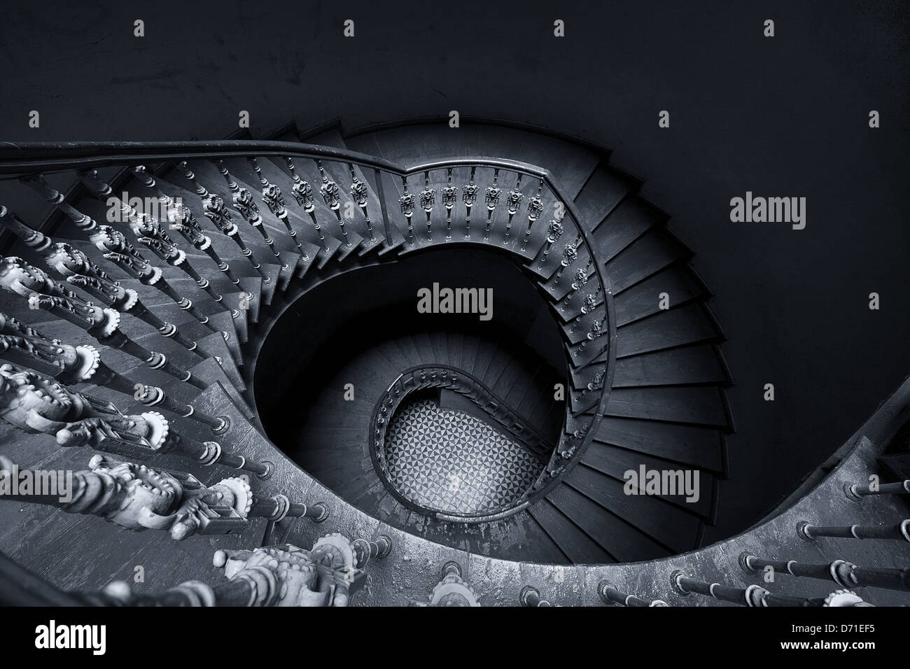 The mysterious spiral staircase Stock Photo