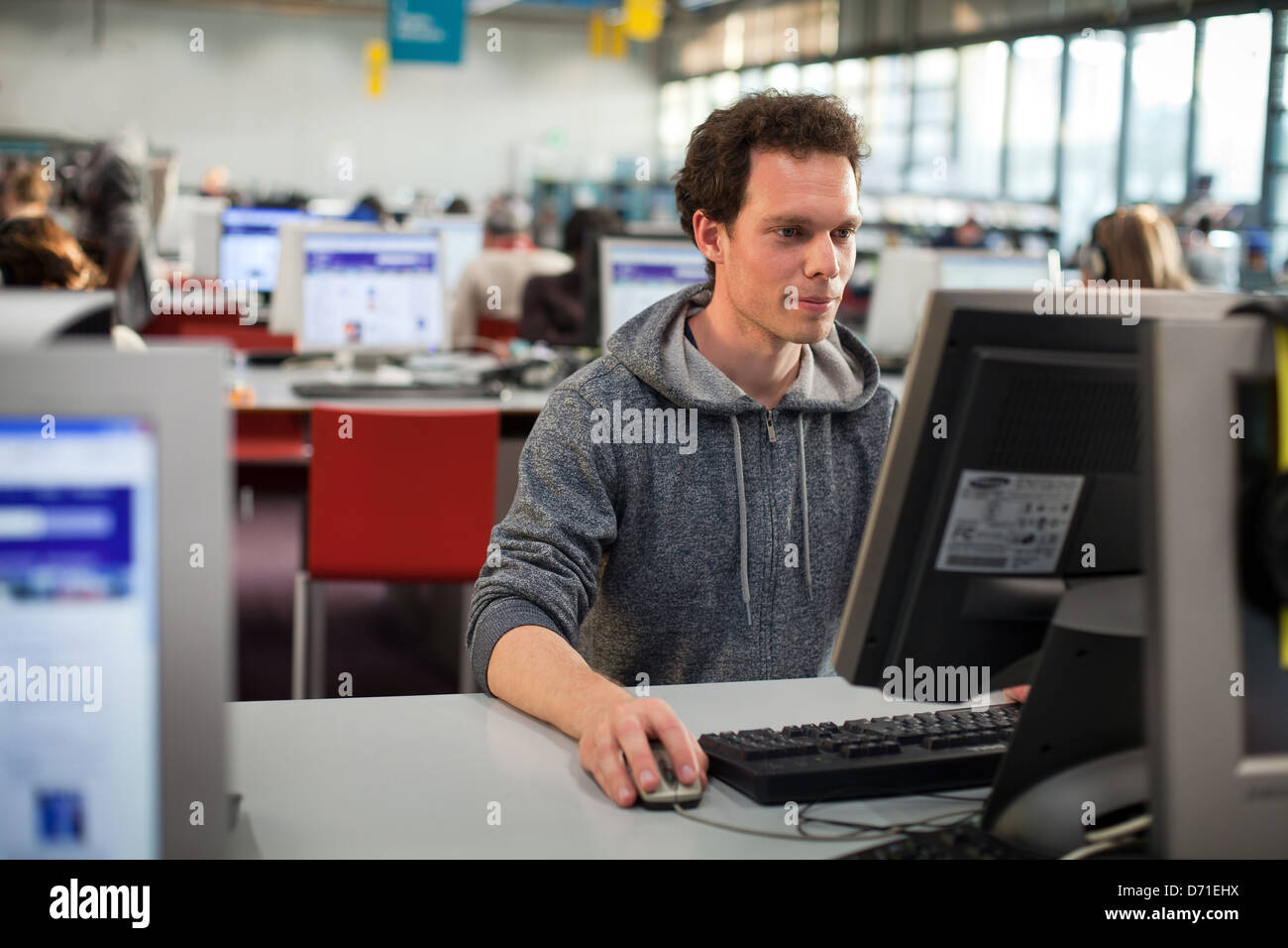 student in the computer classroom - Stock Image