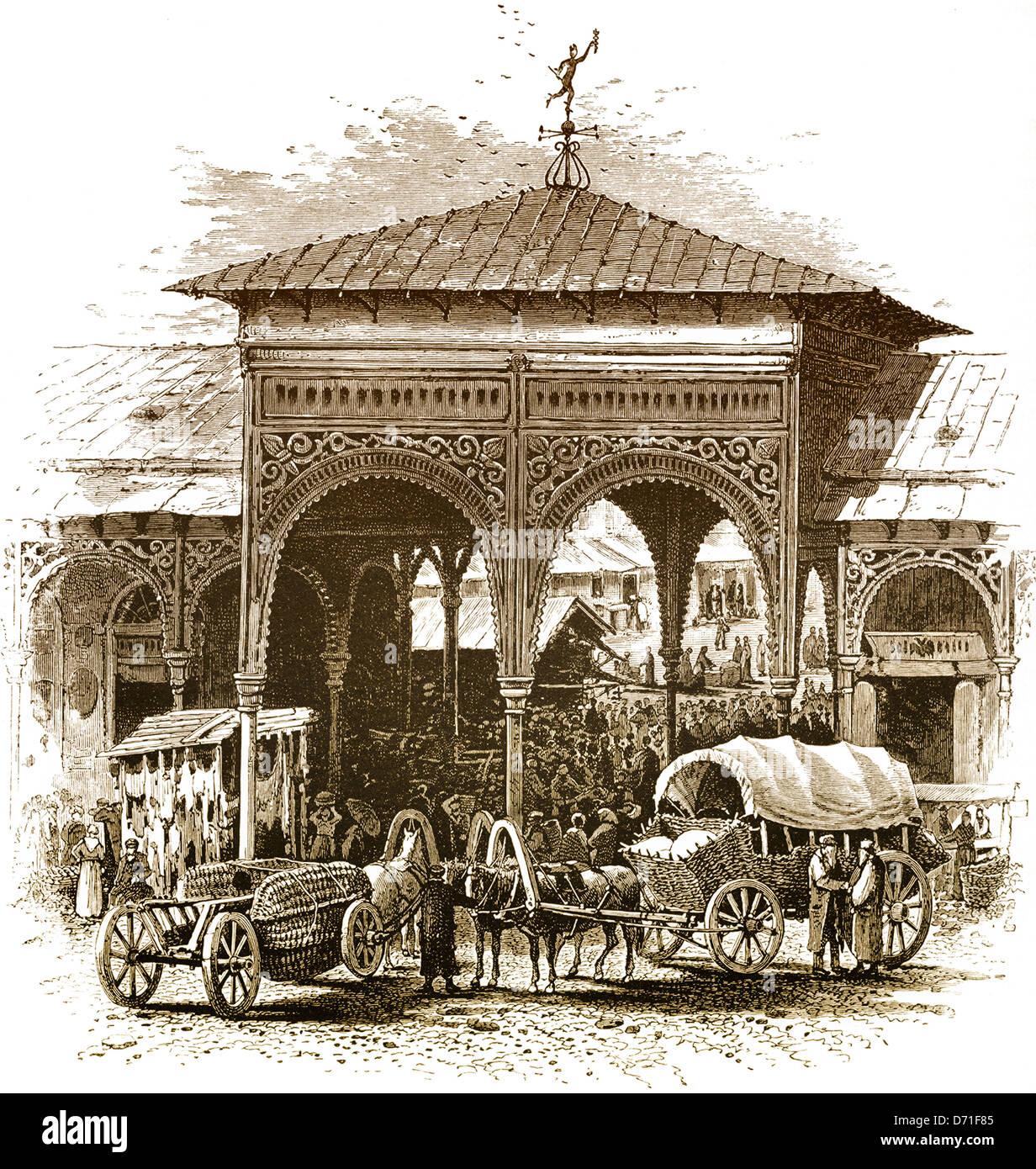 Historical drawing, Jewish market of Warsaw, 19th Century, Poland, Europe, - Stock Image