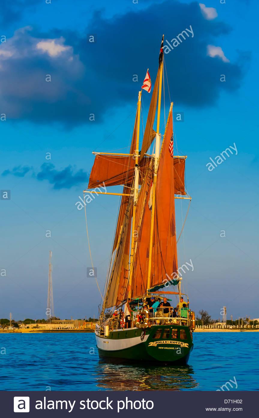 Jolly Rover II sailing off Key West, Florida Keys, Florida USA Stock Photo