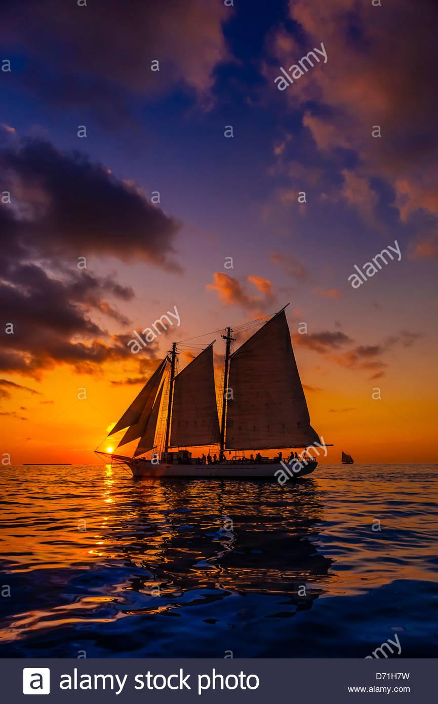 The schooner Western Union at sunset, off Key West, Florida Keys, Florida USA Stock Photo