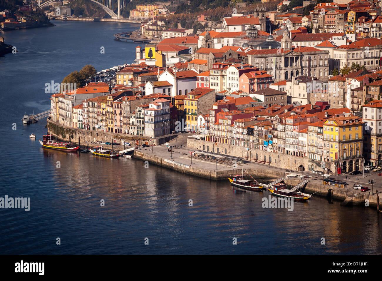 OPORTO, PORTO, PORTUGAL, A VIEW WITH DOURO RIVER - Stock Image