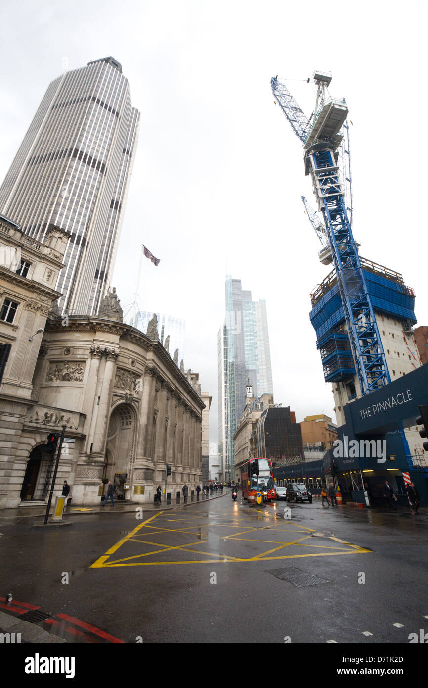 Looking down Bishopsgate, London. Gibson Hall, Tower 42, Heron Tower and the Pinnacle building site - Stock Image