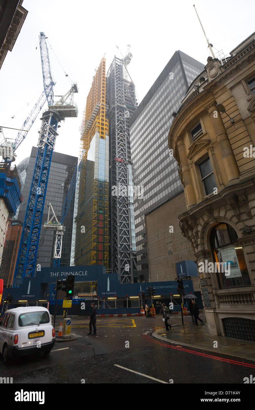 Construction site of the pinnacle, Bishopsgate, London - Stock Image
