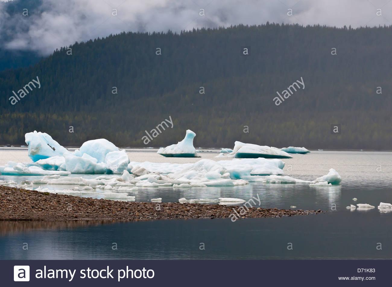 Mendenhall Lake (next to Mendenhall Glacier), Juneau, southeast Alaska USA Stock Photo