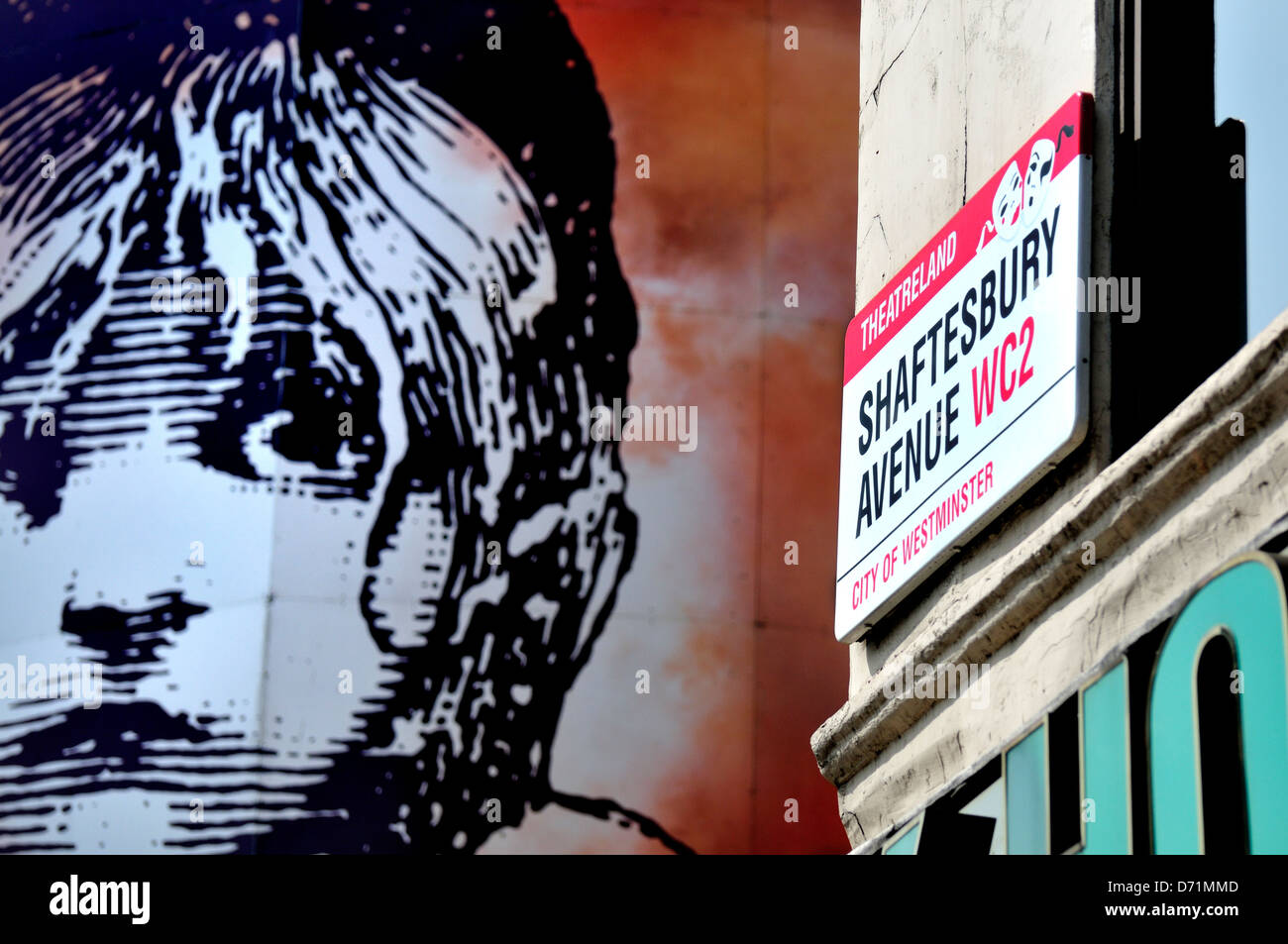 London, England, UK. Queen's Theatre on Shaftesbury Avenue - Les Miserables poster - Stock Image