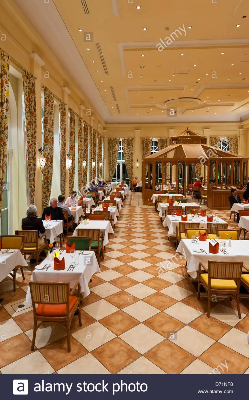 Orangerie Restaurant, Radisson Blu Resort Schloss Fleesensee (castle hotel), Fleesensee, Germany - Stock Image
