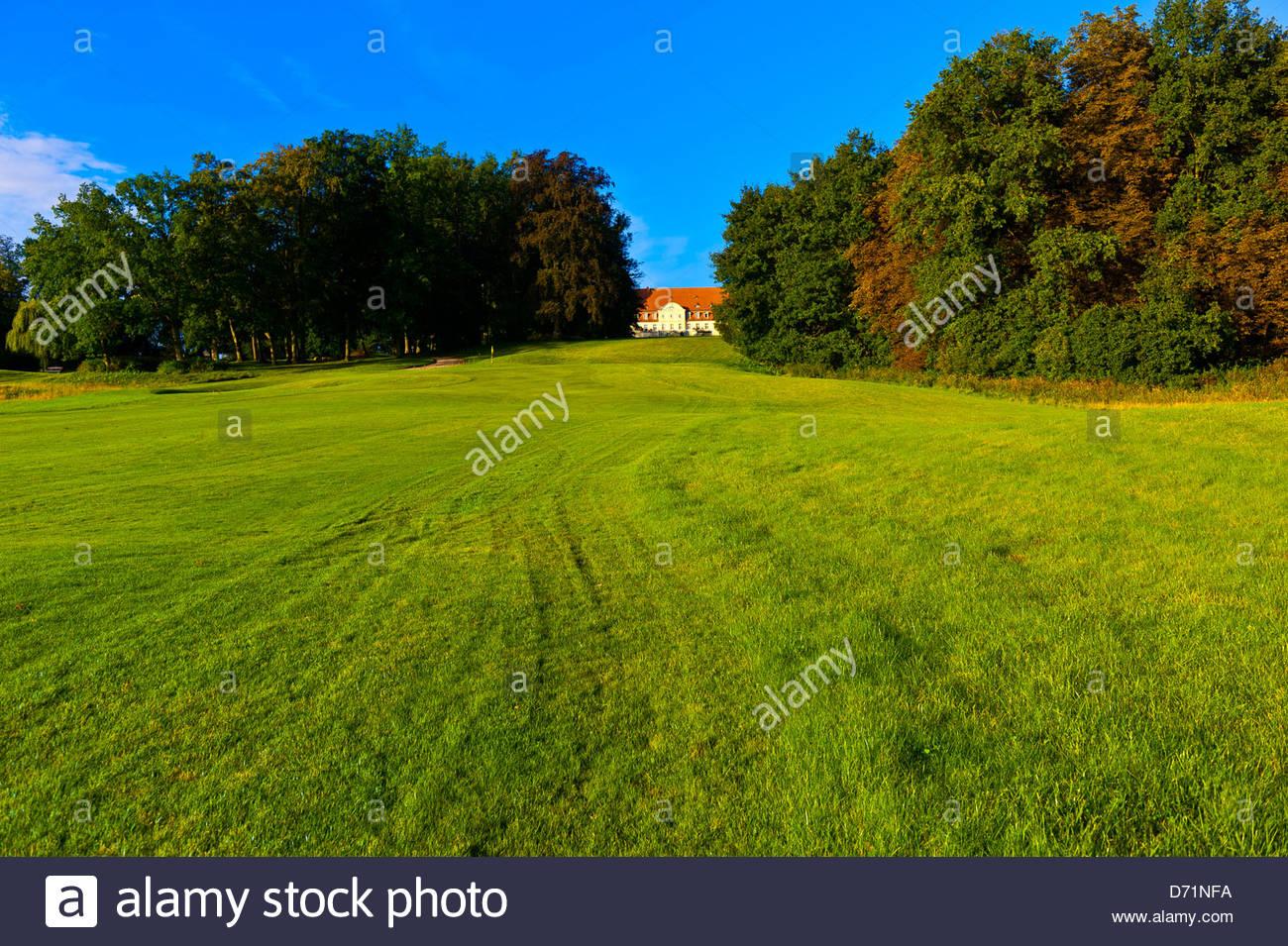 Golf course, Radisson Blu Resort Schloss Fleesensee (castle hotel), Fleesensee, Germany - Stock Image