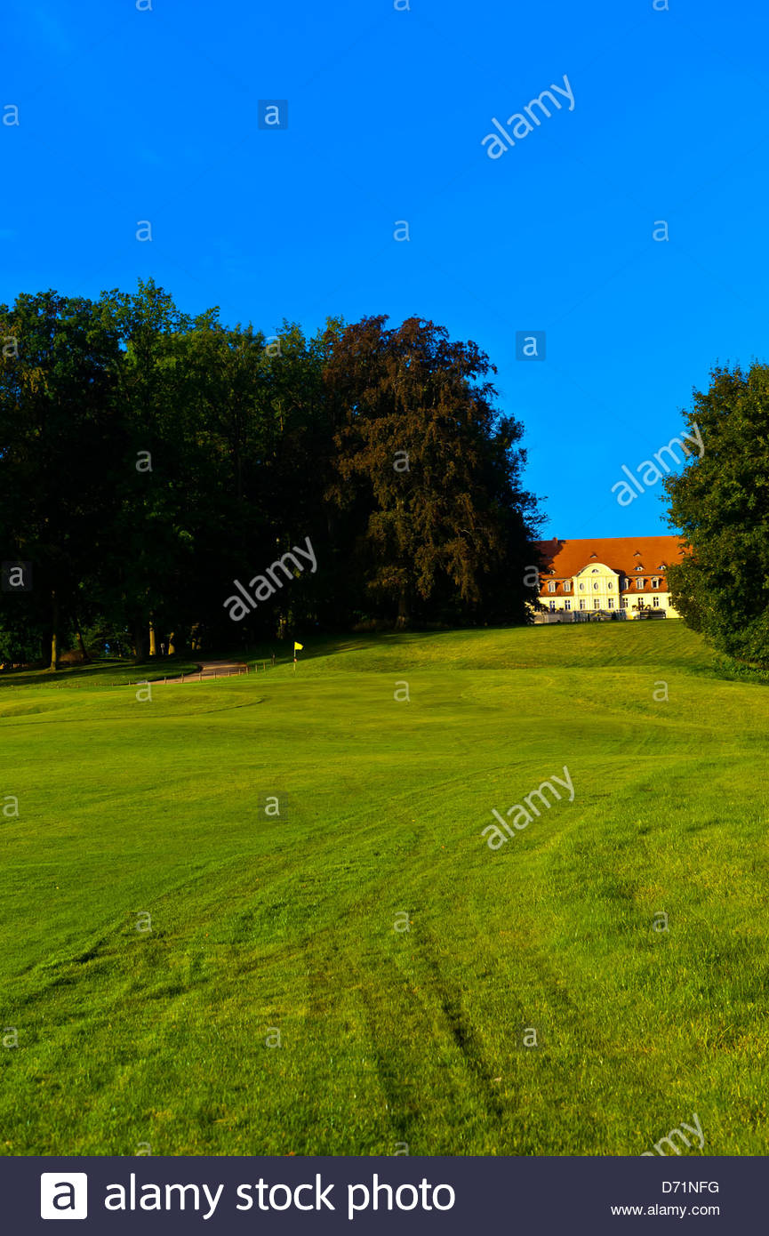 Golf course, Radisson Blu Resort Schloss Fleesensee (castle hotel), Fleesensee, Germany - Stock Image