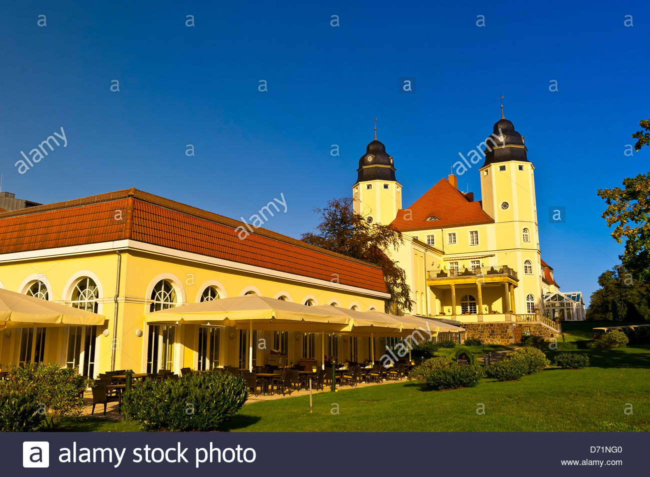 Radisson Blu Resort Schloss Fleesensee (castle hotel), Fleesensee, Germany - Stock Image