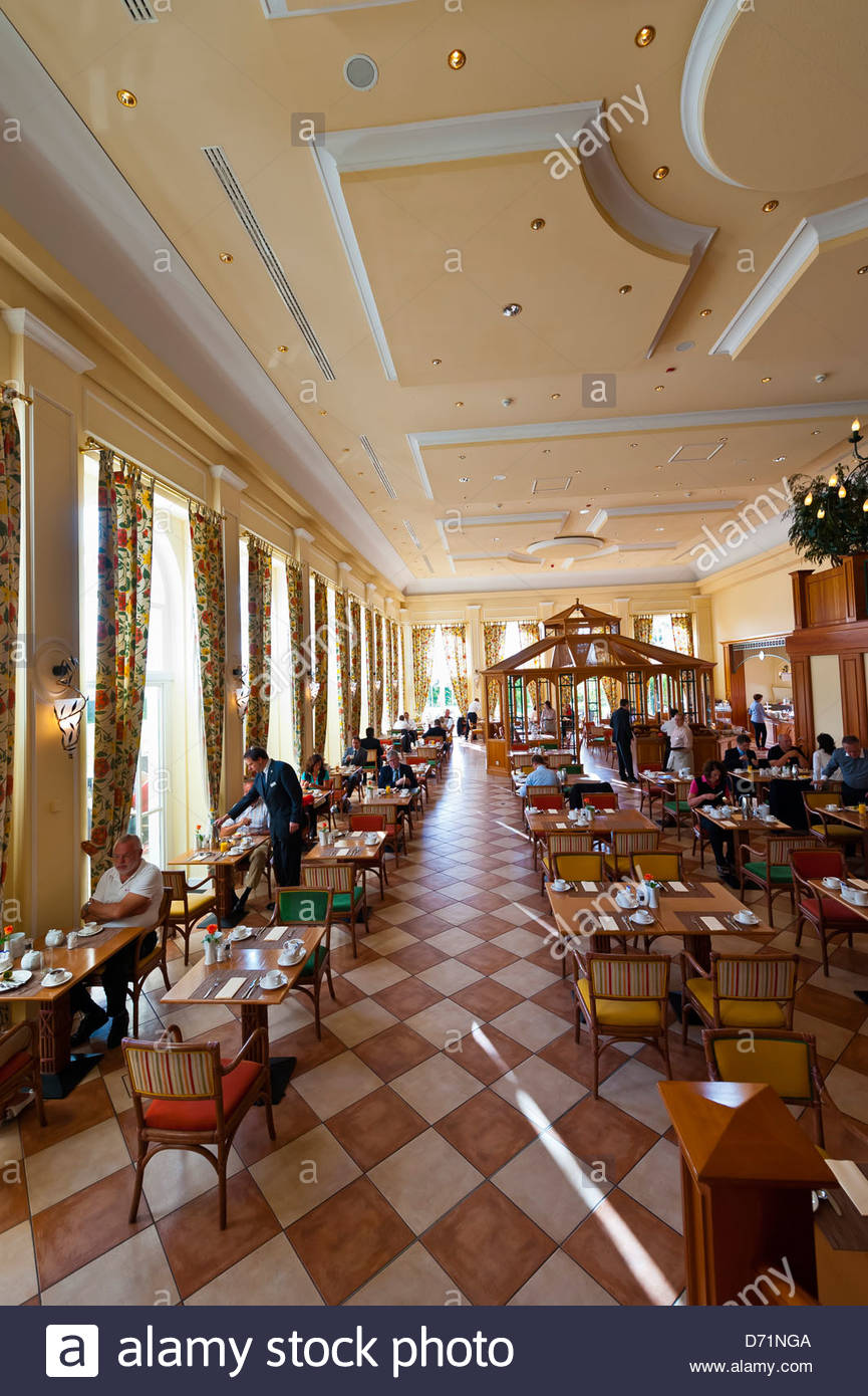 Orangerie Restaurant, Radisson Blu Resort Schloss Fleesensee (castle hotel), Fleesensee, Germany - Stock Image