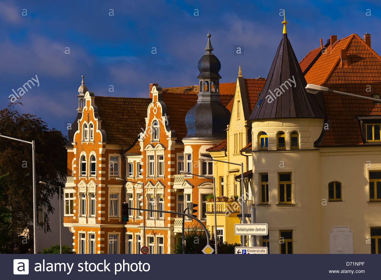 Ornate buildings, Schwerin, Mecklenburg-West Pomerania, Germany - Stock Image
