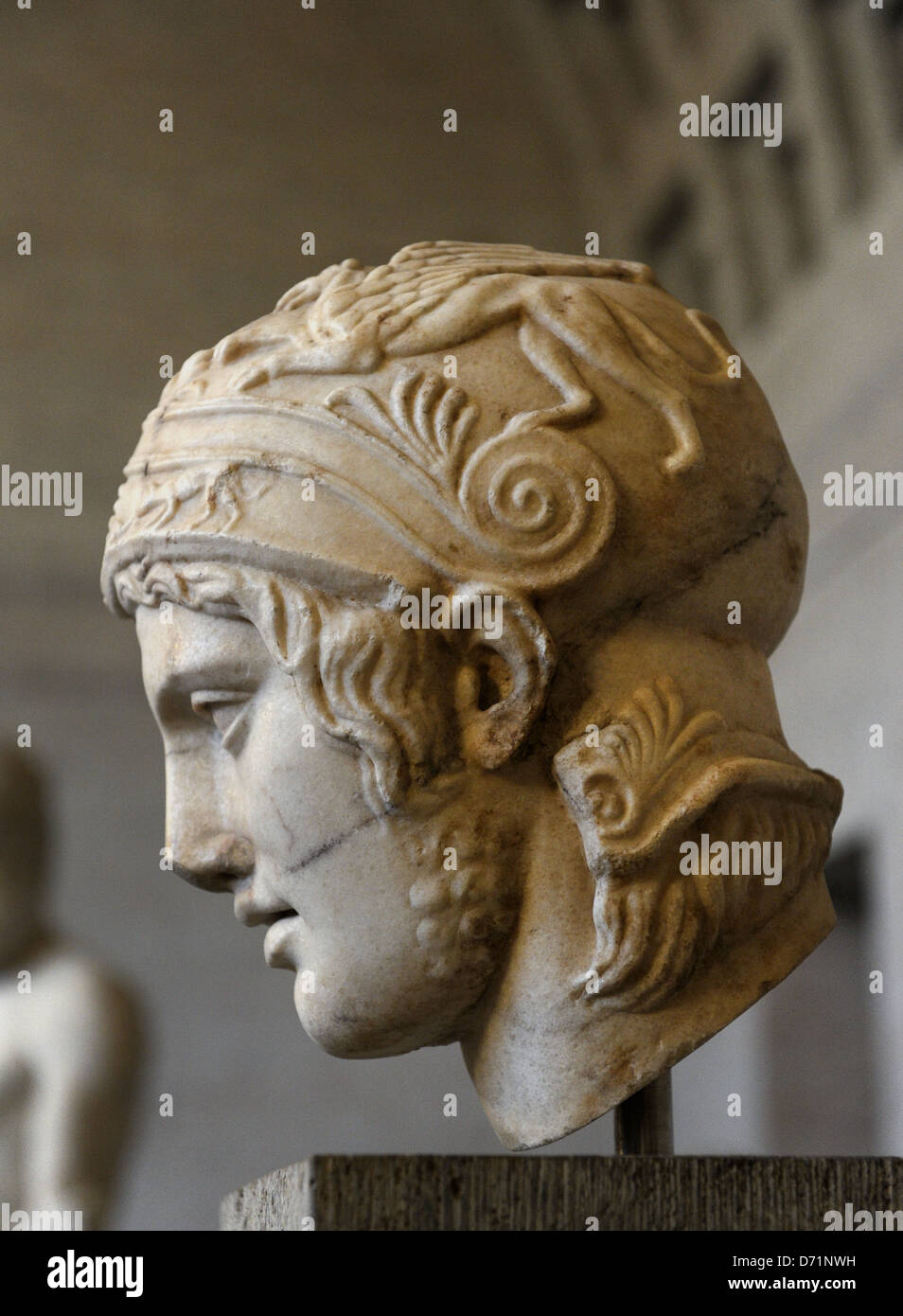 Ares, the god of war. Roman equivalent : Mars. Head of a statue of Ares. Roman sculpture after original of about - Stock Image