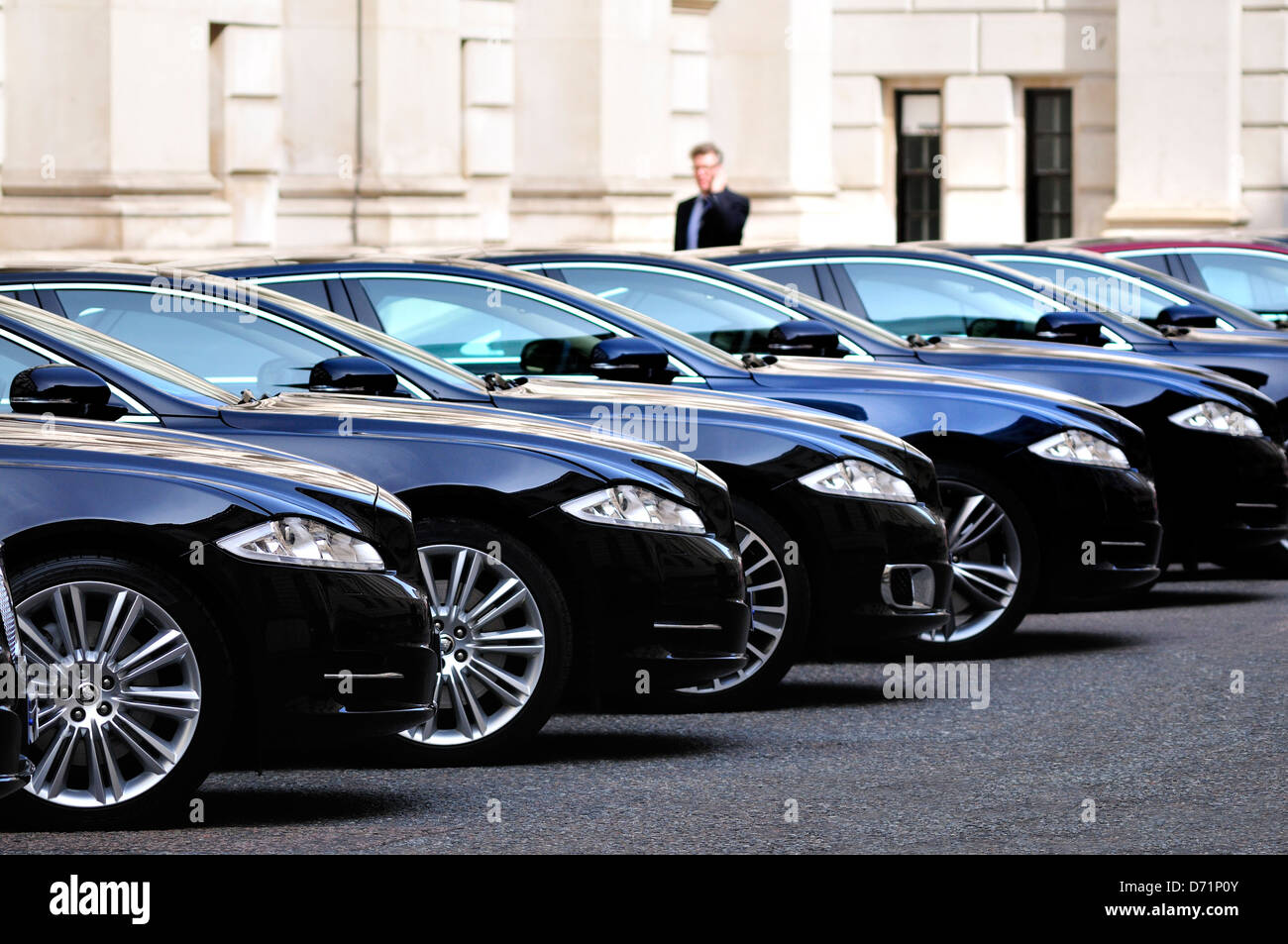 London, England, UK. King Charles Street. Official Government cars (Jaguar) parked by the Foreign Office - Stock Image